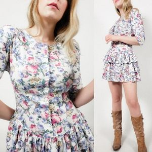 80s mini dress floral ruffles tiered button down